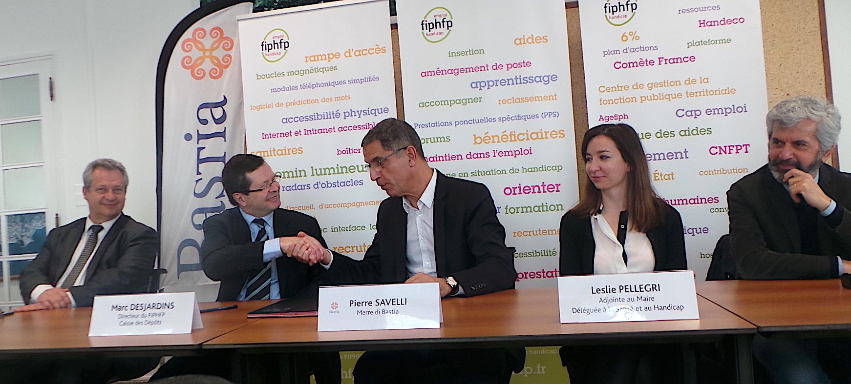 La Ville de Bastia signe une convention avec le Fonds pour l'insertion des personnes handicapées