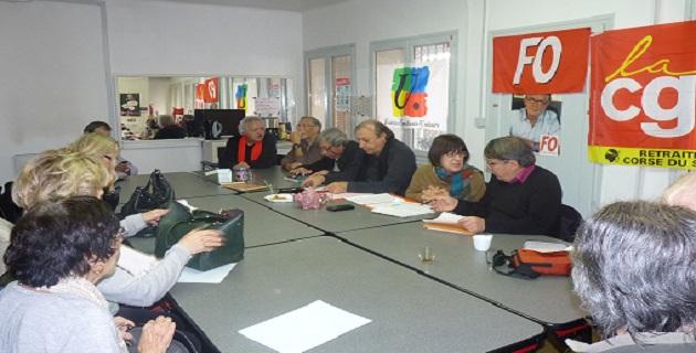 L'intersyndicale des retraités lors d'une récente réunion