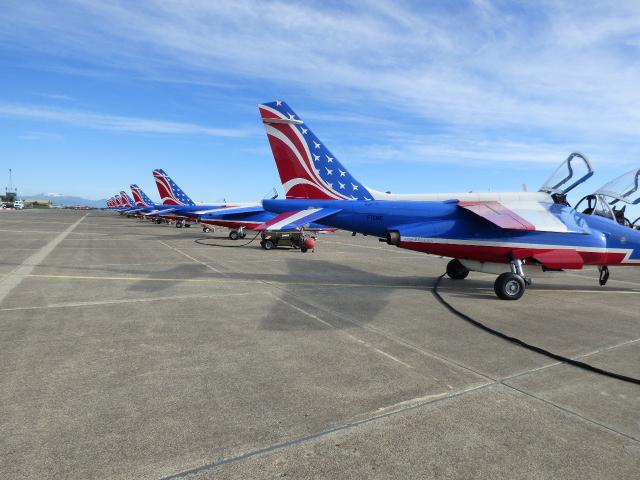 Les dérives des alpha jets peintes aux couleurs de la bannière étoilée.