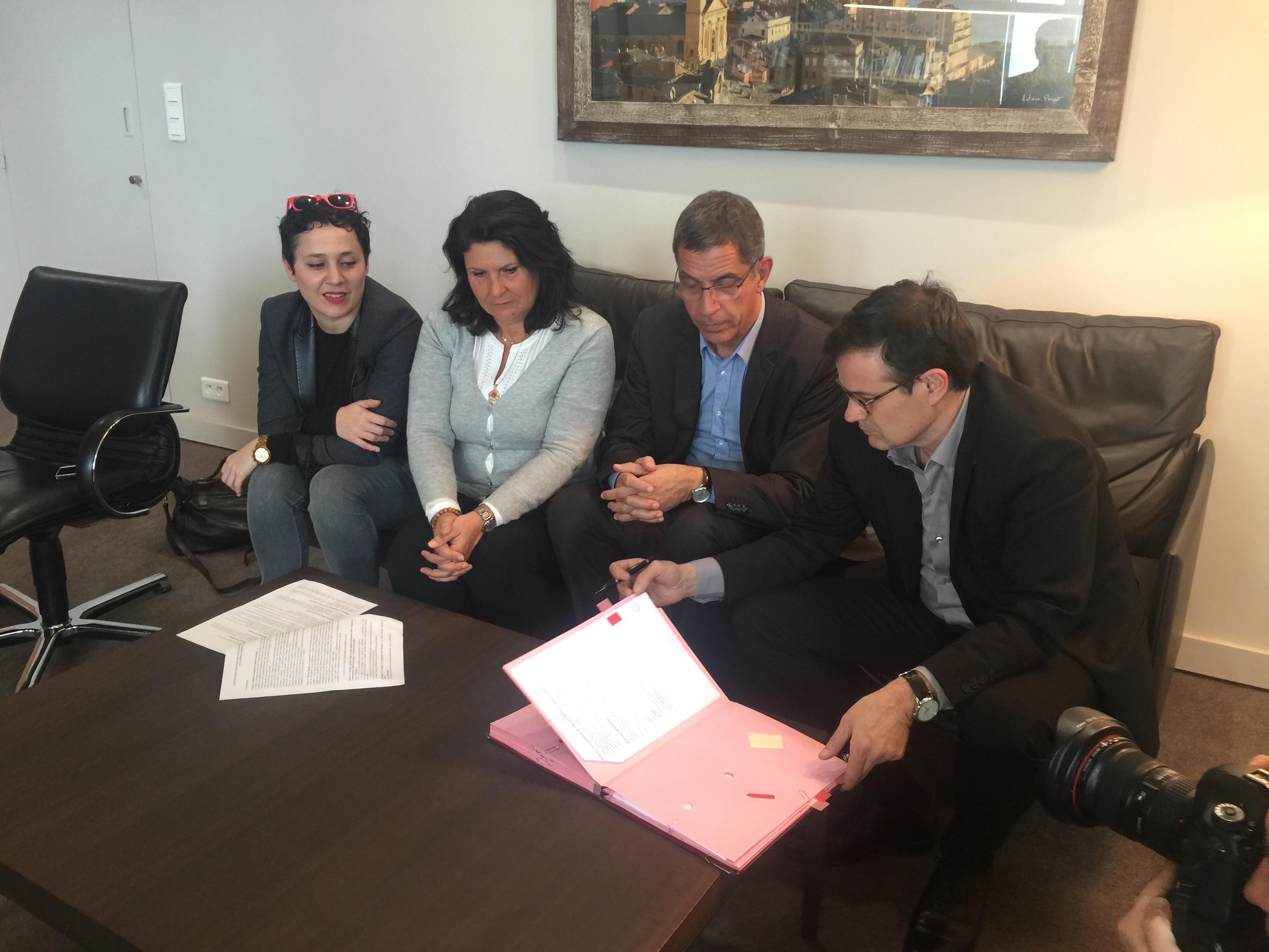 Frédérique Balbinot, programmatrice spectacle vivant, Mattea Lacave, élue à la culture, Pierre Savelli, maire de Bastia et Olivier Mantei, directeur de l'Opéra Comique