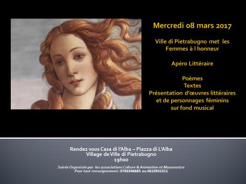 Journée de la Femme : Un apéro littéraire est organisé à Ville-di-Pietrabugno