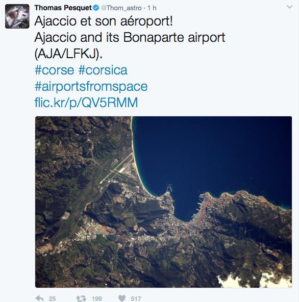 Ajaccio et son aéroport vus par l'astronaute Thomas Pesquet