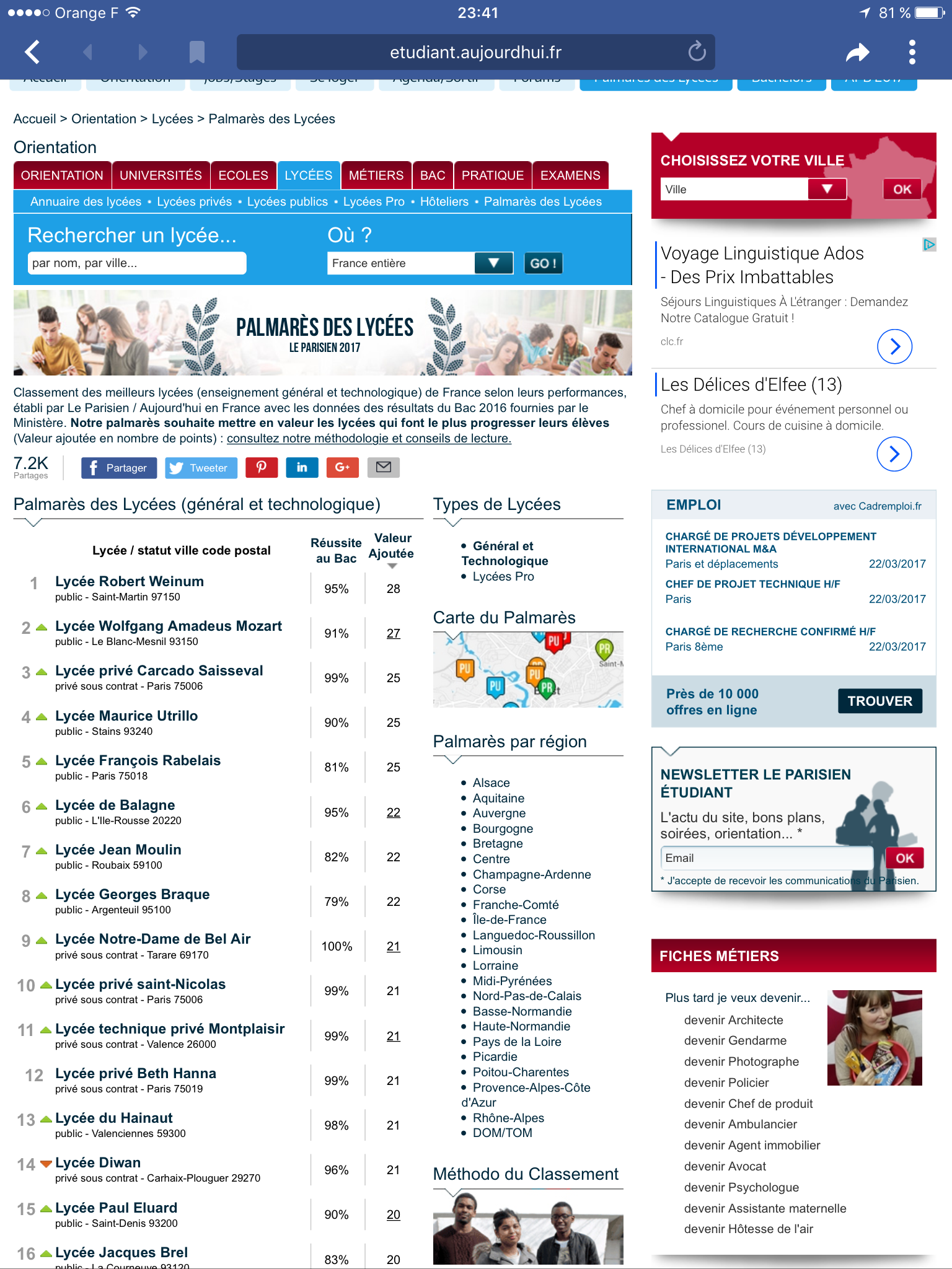 Avec 95% de réussite au baccalauréat le  Lycée de Balagne parmi les meilleurs de France