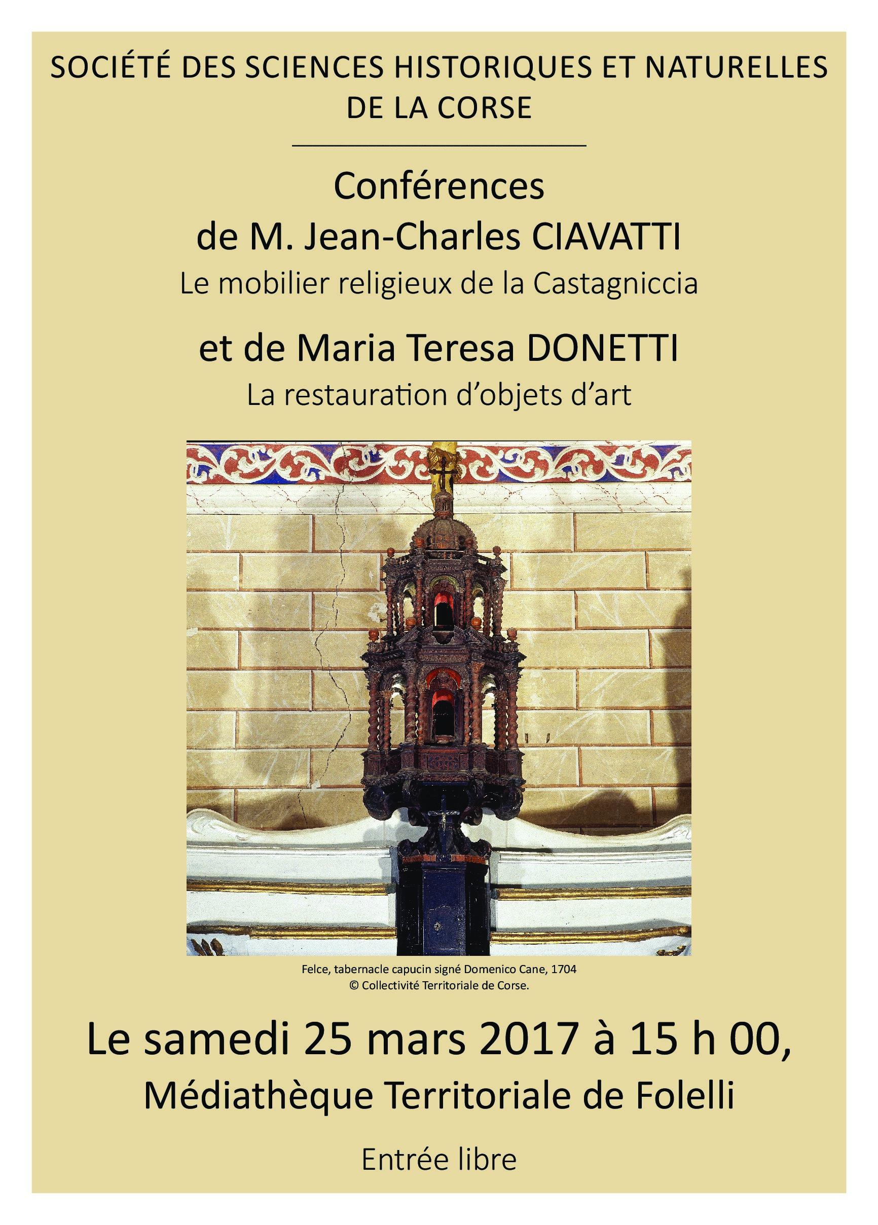 Folelli : Le mobilier religieux de la Castagniccia et la restauration d'objets d'art thèmes des  conférences de la Société des Sciences