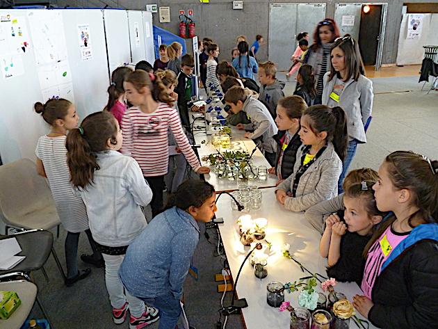 Les élèves de l'école élémentaire de Porette présentent leur étude sur les besoins des végétaux à l'aide de microscopes