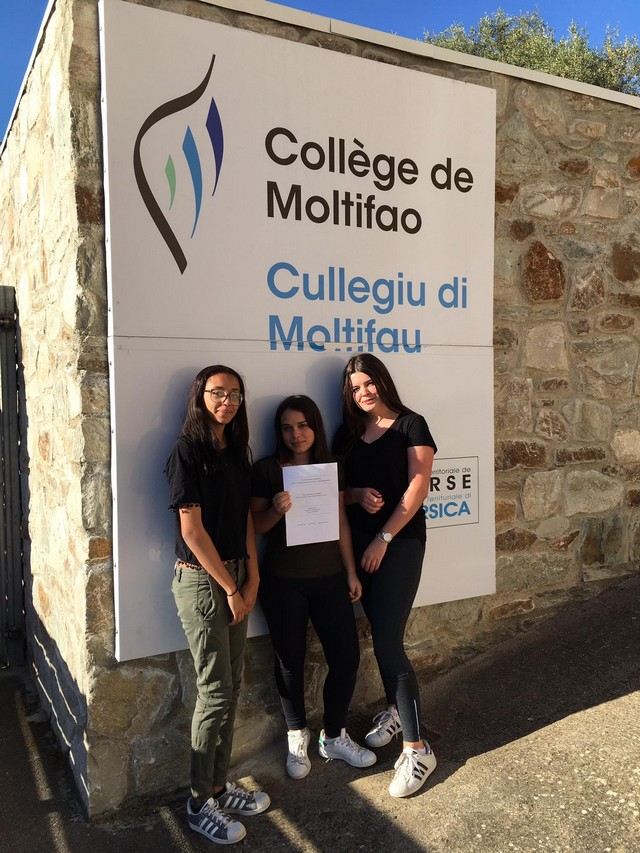 Trois élèves du Collège de Moltifao à l'honneur