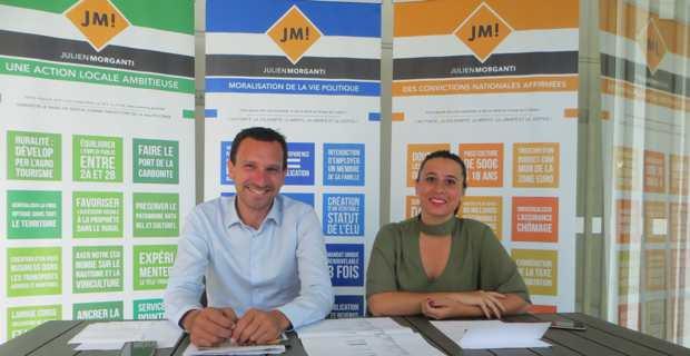Julien Morganti, conseiller municipal de la ville de Bastia et vice-président de la CAB (Communauté d'agglomération de Bastia), et sa suppléante, Audrey Nicoli, une jeune étudiante de 23 ans, candidats aux élections législatives de juin dans la 1ère circonscription de Haute-Corse.