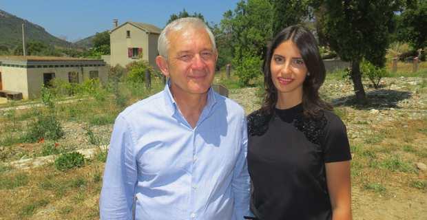 François Orlandi, président du Conseil départemental de Haute-Corse, et sa suppléante, Lolla Di Vico, présidente des « Jeunes avec Macron », candidats aux élections législatives dans la circonscription de Bastia sous la bannière de « La République En Marche (LREM) ».