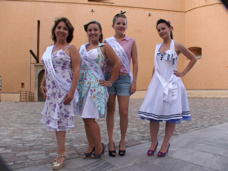 Marie-Claire (2ème dauphine) - Plume (Miss Pin-Up corse 2017) - Margault (1ère dauphine) et Miss Dellycat (Miss Pin-Up corse 2016)