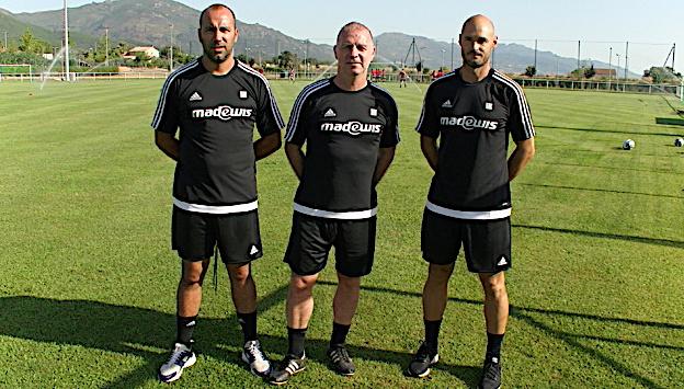 Jean-Charles Giovacchini, Christophe Taine et Sébastien  Lopez-Guia, le staff lors des premiers entraînements du FCBB