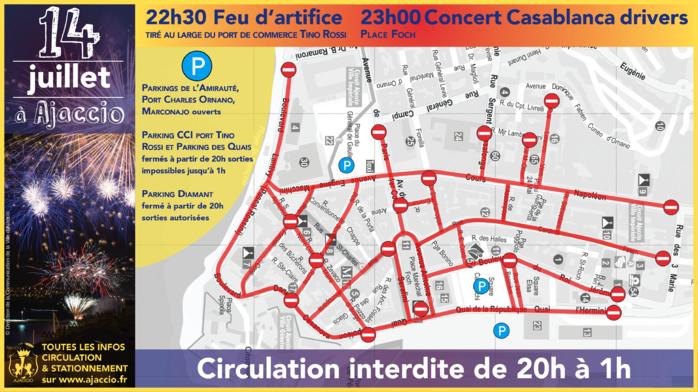 Le 14 juillet à Ajaccio - Programme - circulation et stationnement