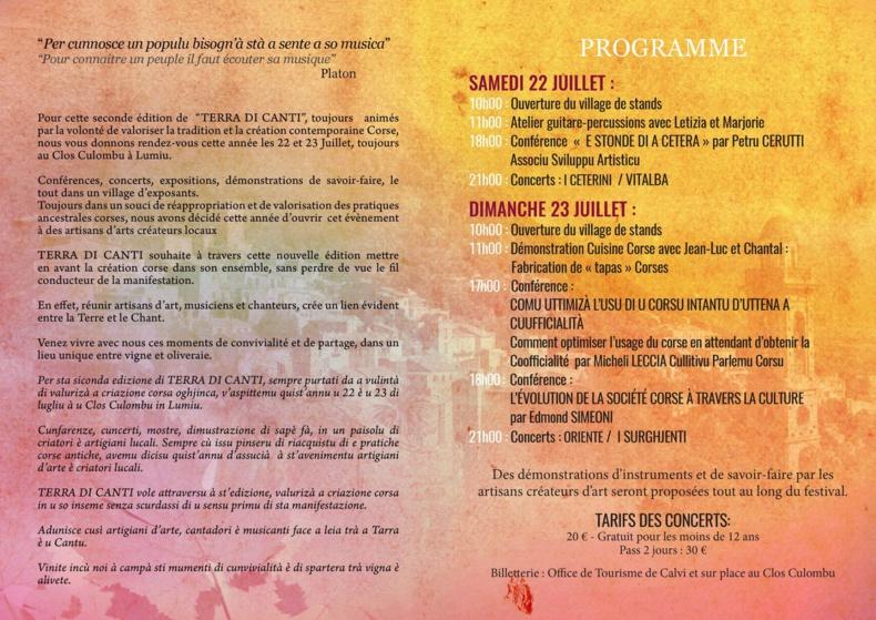 """Festival de Musique Corse """"Terra di canti"""" les 22 et 23 juillet au Clos Colombu de Lumio"""