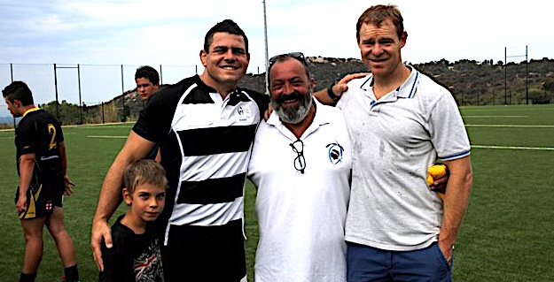 Guilhem Guirado avec le maillot de la Squadra Corsa avec Jean-Simon Savelli et Tom Withford