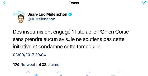 """Le PCF Corse et la """"tambouille"""" de Jean-Luc Mélenchon"""