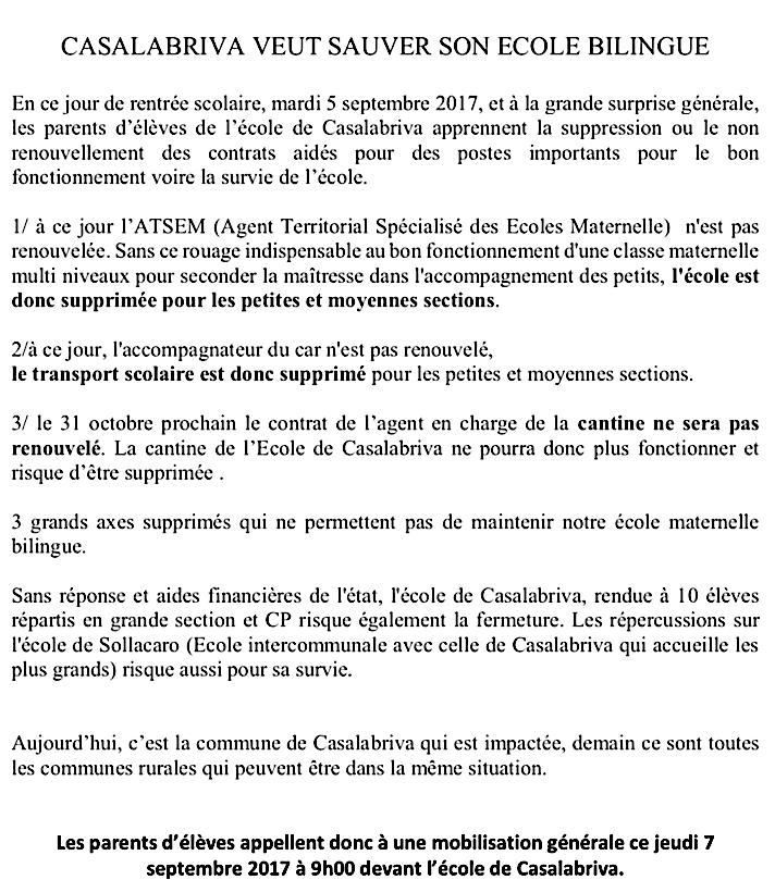 Rentrée : Apaisement à l'école Reynoard à Bastia, tension à Casalabriva