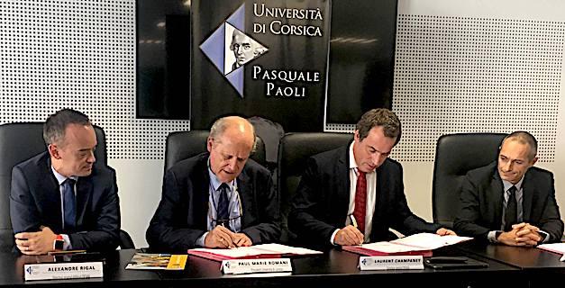 Paul-Marie Romani et Laurent Champaney ont signé la convention liant l'Università di Corsica à l'école d'ingénieur arts et métiers
