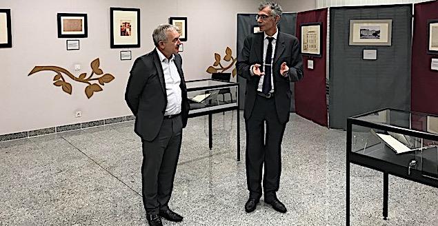 Le President du Conseil Départemental de la Haute-Corse François Orlandi et le Directeur des Archives Départementales Dominique Devaux