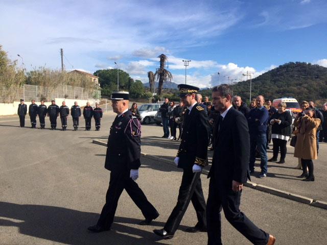 Le colonel Maestracci, M. Romain Delmon et Charles Voglimacci