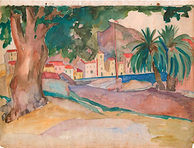 Vue de la pergola, Lydia Nicanorova , aquarelle sur Papier, 26 x 34,5 cm, exposée en 1930 Galerie René Zivy