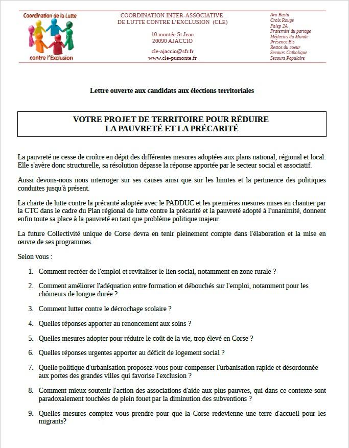 Neuf questions pour huit listes : La CLE espère des réponses plus structurelles