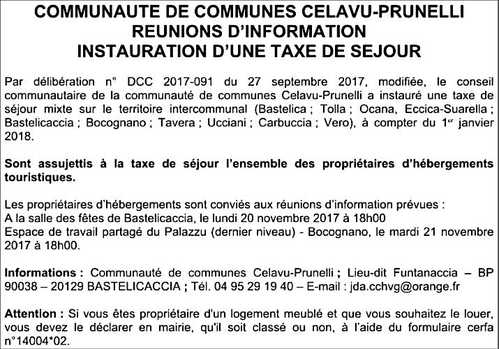 Celavu-Prunelli : Instauration d'une taxe de séjour sur le territoire intercommunal