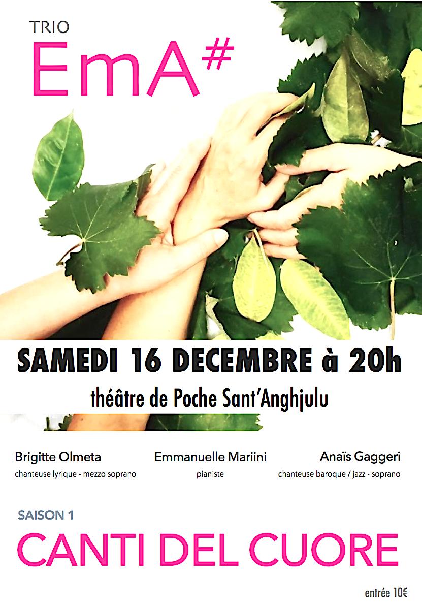 "Bastia : Les ""Canti del cuore"" du trio EmA# au théâtre Sant' Anghjulu"