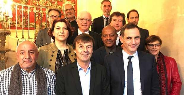 Le président du Parc naturel marin du Cap Corse et des Agriates, Gilles Simeoni, et les présidents des parcs marins français, reçus par le ministre de la Transition écologique et solidaire, Nicolas Hulot.