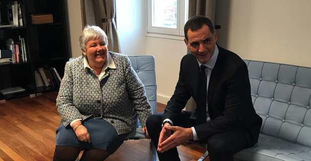 """La ministre Jacqueline Gourault, """"Madame Corse"""" du gouvernement, à Ajaccio avec le président de l'Exécutif territorial, Gilles Simeoni."""