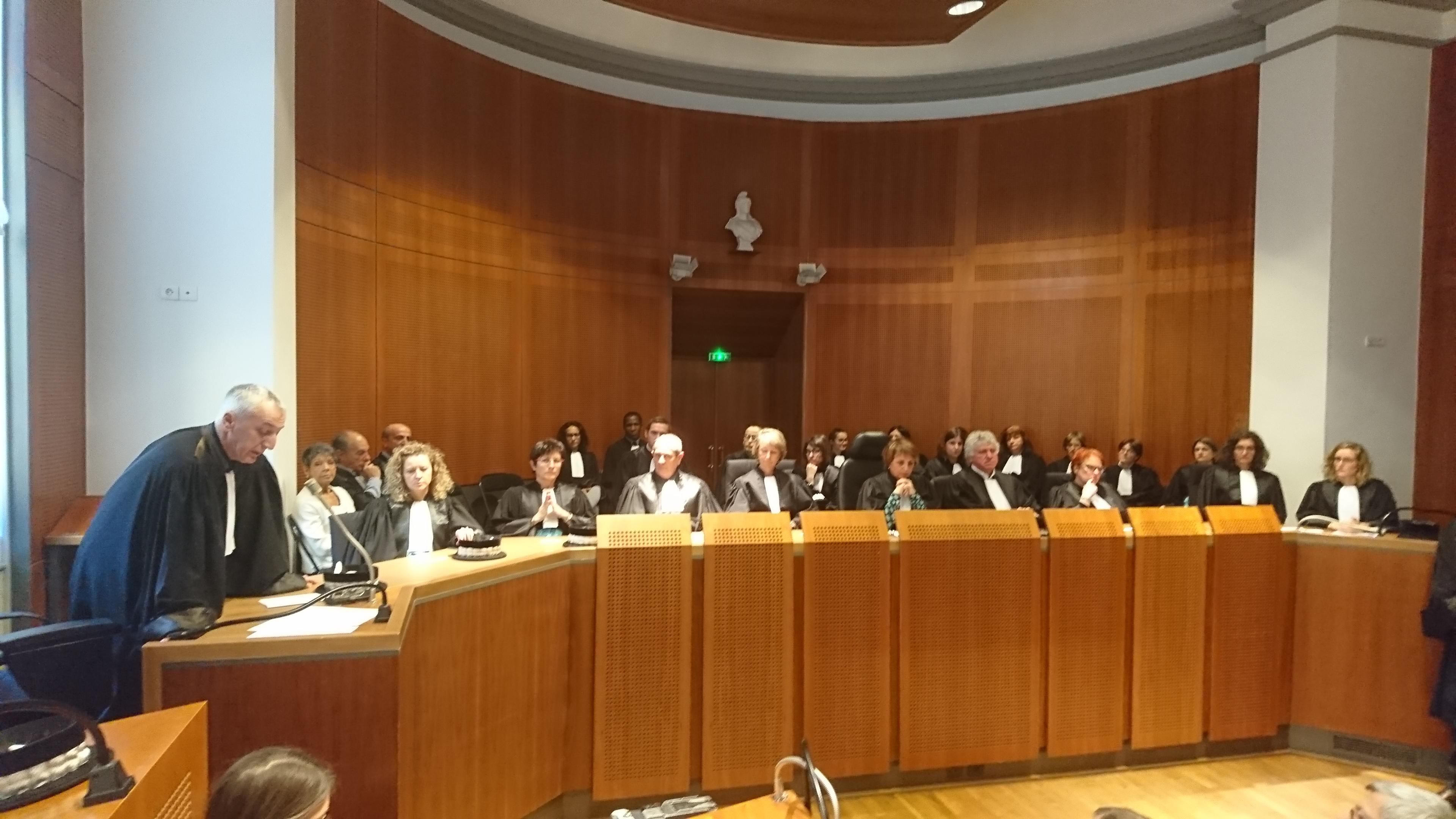 Le procureur Eric Bouillard (à gauche) et les juges du siège du TGI d'Ajaccio, ce mercredi lors de l'audience de rentrée.