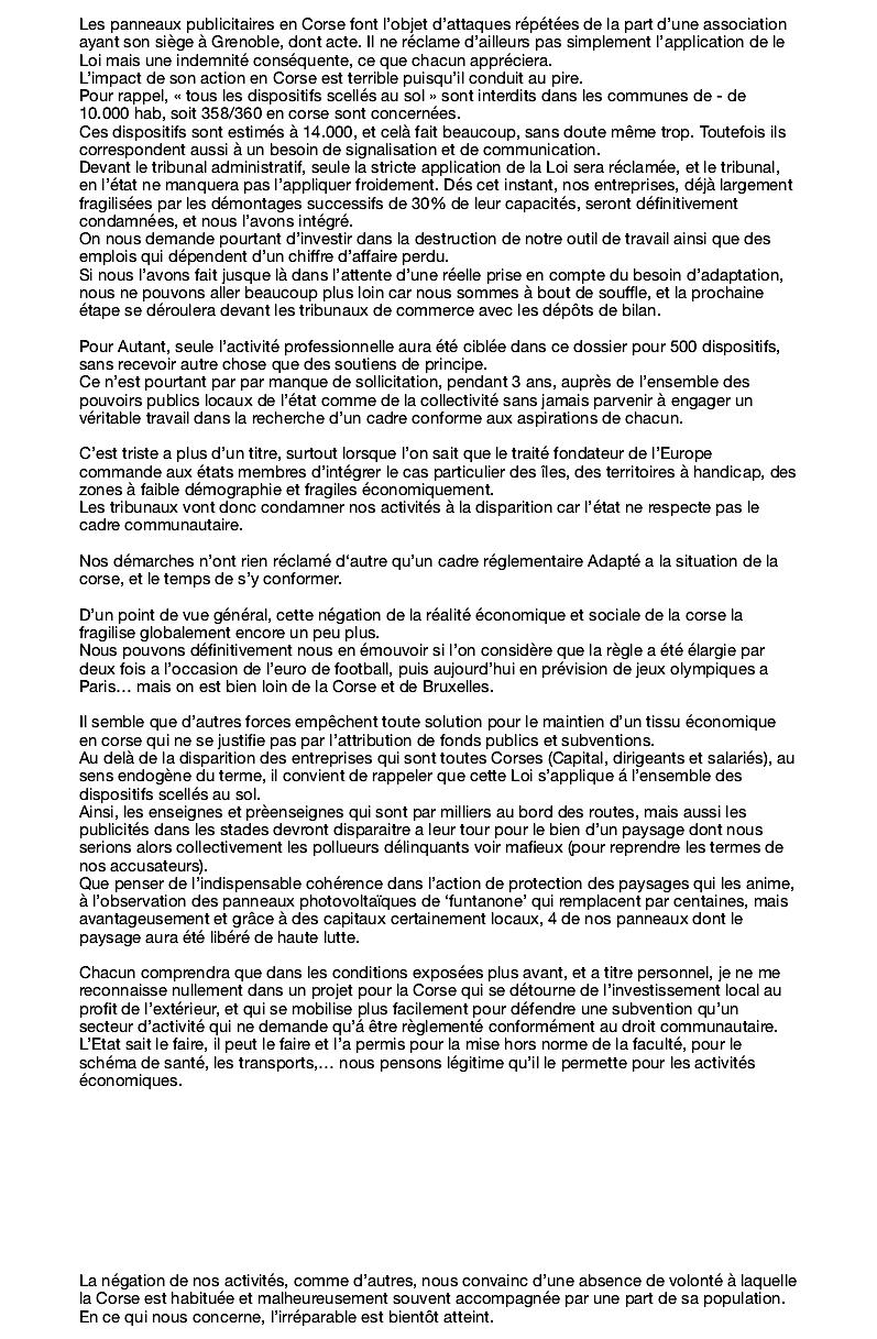 Panneaux publicitaires : L'amertume du collectif de la publicité extérieure de Corse