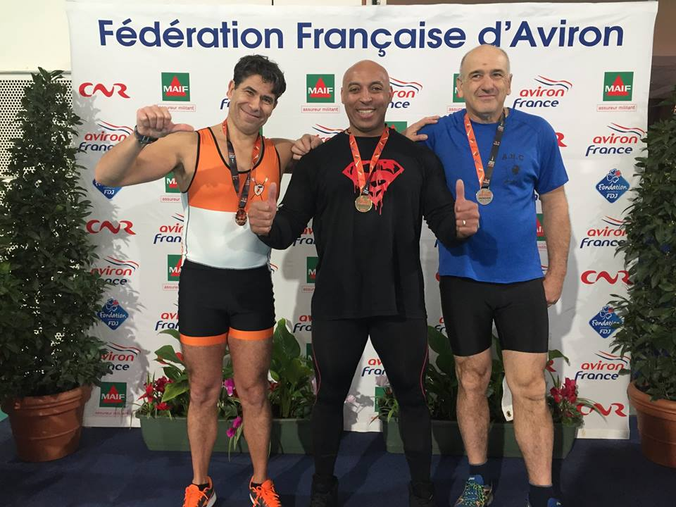 Paul Mattia à droite, vice-champion de France en 500 et 2000 m