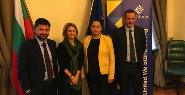 Le député Jean-Félix Acquaviva, la conseillère exécutive Nanette Maupertuis, et le président de l'Exécutif Corse, Gilles Simeoni, reçus par la Vice-Premier Ministre en charge de la présidence européenne, Liliana Pavlova.