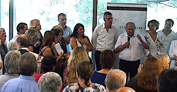 Le poète Ghjuvanteramu Rocchi en juin 2017 au Centre culturel L'Alb'Oru à Bastia lors d'une cérémonie d'hommage à son oeuvre. La salle de spectacle porte son nom.