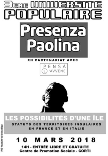 """3e université de Presenza Paolina à Corte : """"Statut des territoires insulaires en France et en Italie"""""""