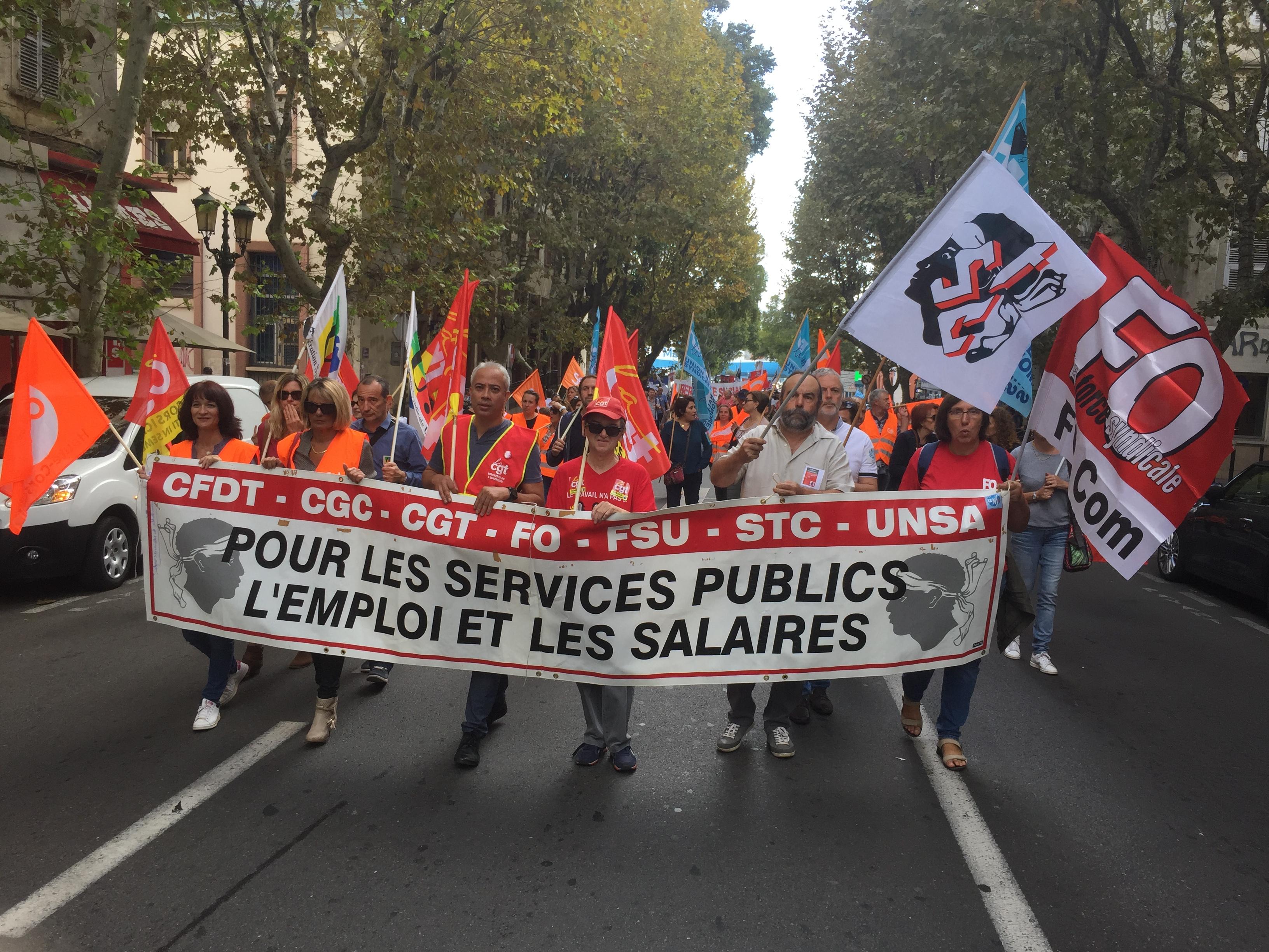 Social : Les fonctionnaires dans la rue à Bastia