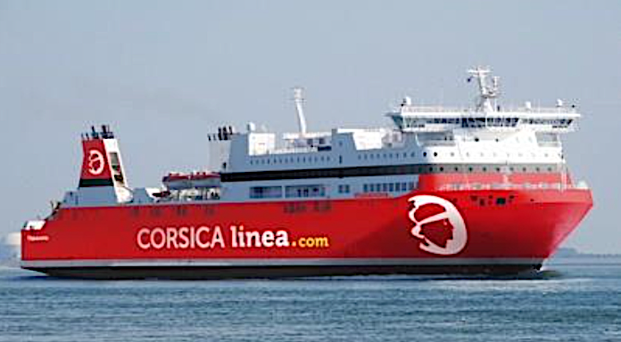 L'Euroferry Corfù - futur Vizzavona - aux couleurs de CORSICA linea (Photo montage)