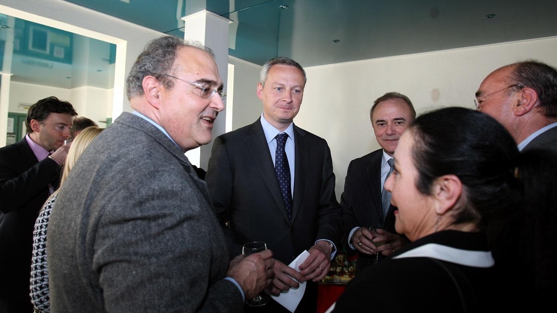 Bruno Le Maire en 2011 à l'office agricole en compagnie de Paul Giacobbo, alors président du Conseil exécutif, Sauveur Gandolfi-Scheit, député et Joseph Castelli, président du conseil général de la Haute-Corse (Photo CNI)