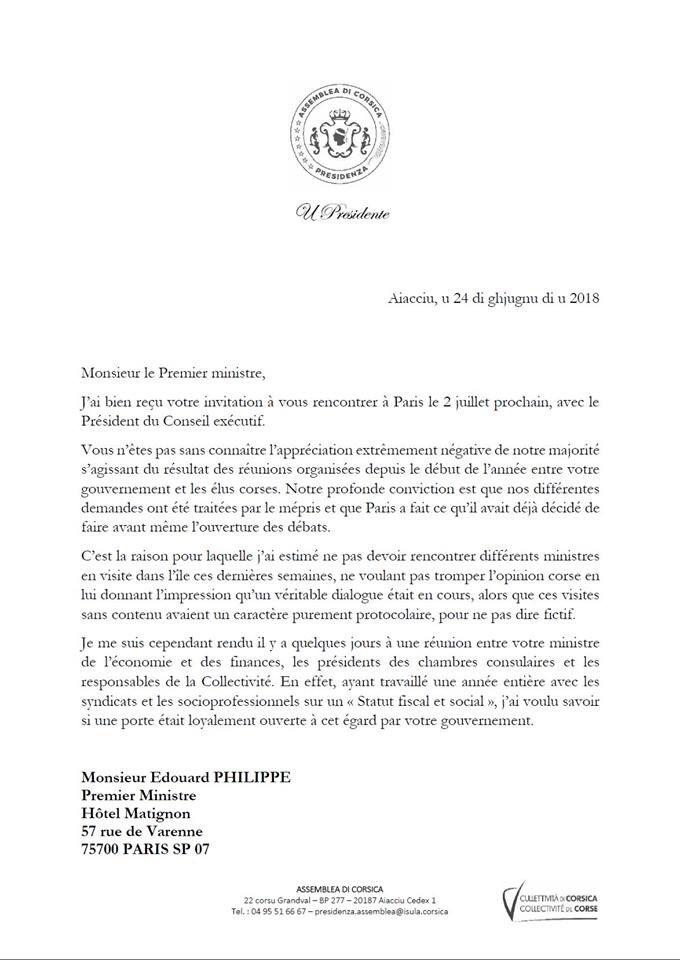 Jean-Guy Talamoni refuse l'invitation du Premier ministre de se rendre à Matignon