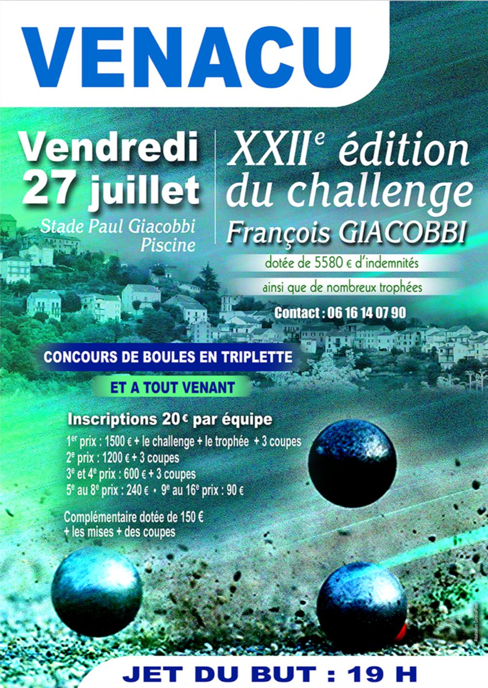Venacu -Pétanque : La 22ème édition du challenge François Giacobbi aura lieu le 27 juillet