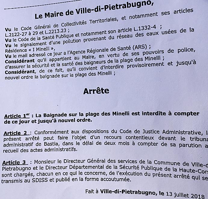 Ville-di-Pietrabugno : Baignade interdite à la plage des Minelli
