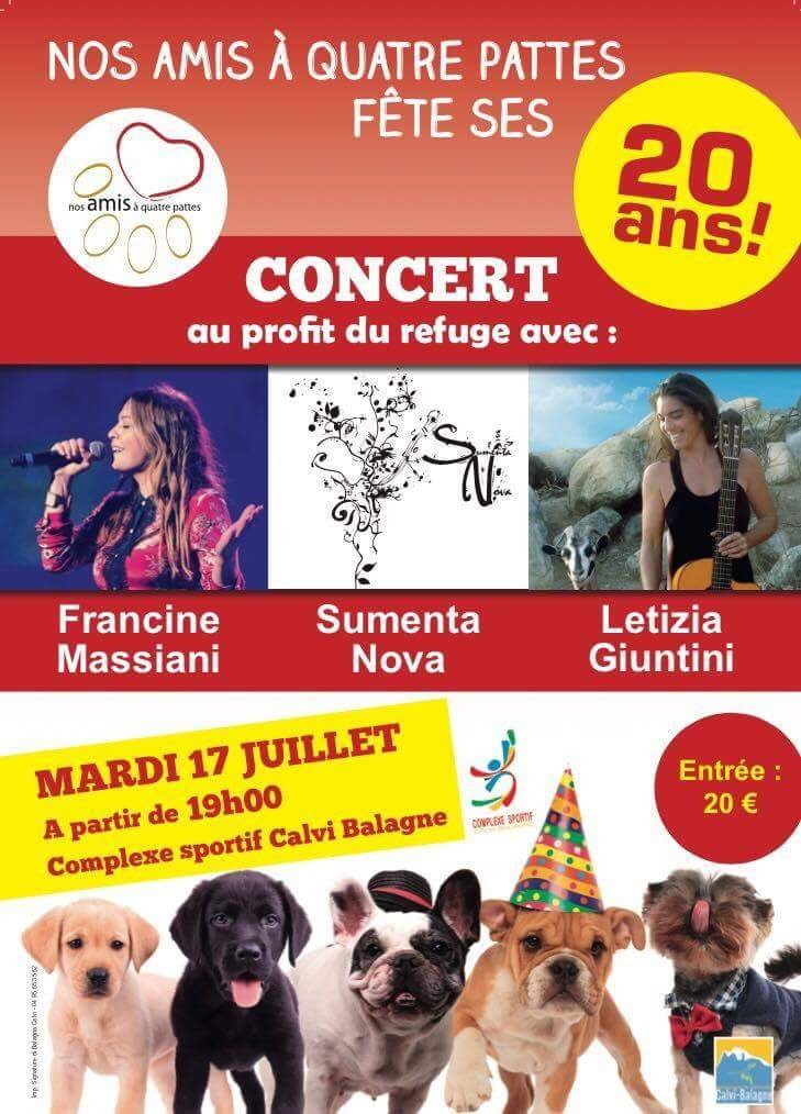 """Calvi : Un concert pour le 20e anniversaire  du refuge """"Nos amis à quatre pattes"""""""