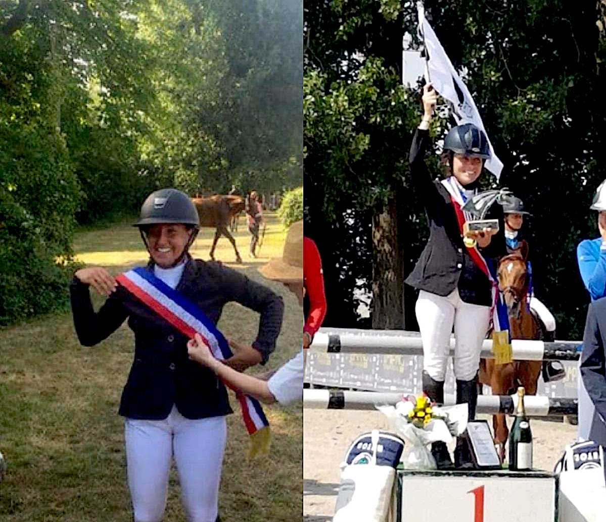 Sophie De Gentili championne de France saut d'obstacle Amateur 1 junior et Carla Martins championne de France de sauts d'obstacles amateur 2 junior.