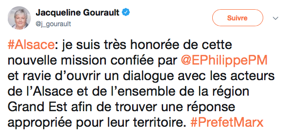 Jacqueline Gourault devient la Madame Alsace du Gouvernement