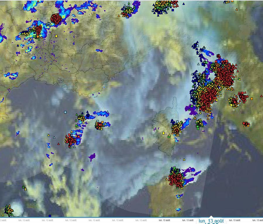 Lundi c'est la cote orientale qui a été impactée par les orages (source MétéoFrance)
