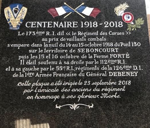 Pèlerinage sur les traces du 173 ème régiment pour commémorer les disparus de la Grande Guerre