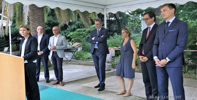 Jean-Philippe Legueult, Romain Delmon, et Géraldine Boffil en présence de la Préfète de Corse, du Maire d'Ajaccio et  du député de la première circonscription de Corse du Sud