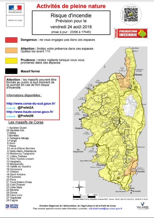 Carte Corse Serriera.Prefecture De Corse Carte Du Risque D Incendie Pour Les
