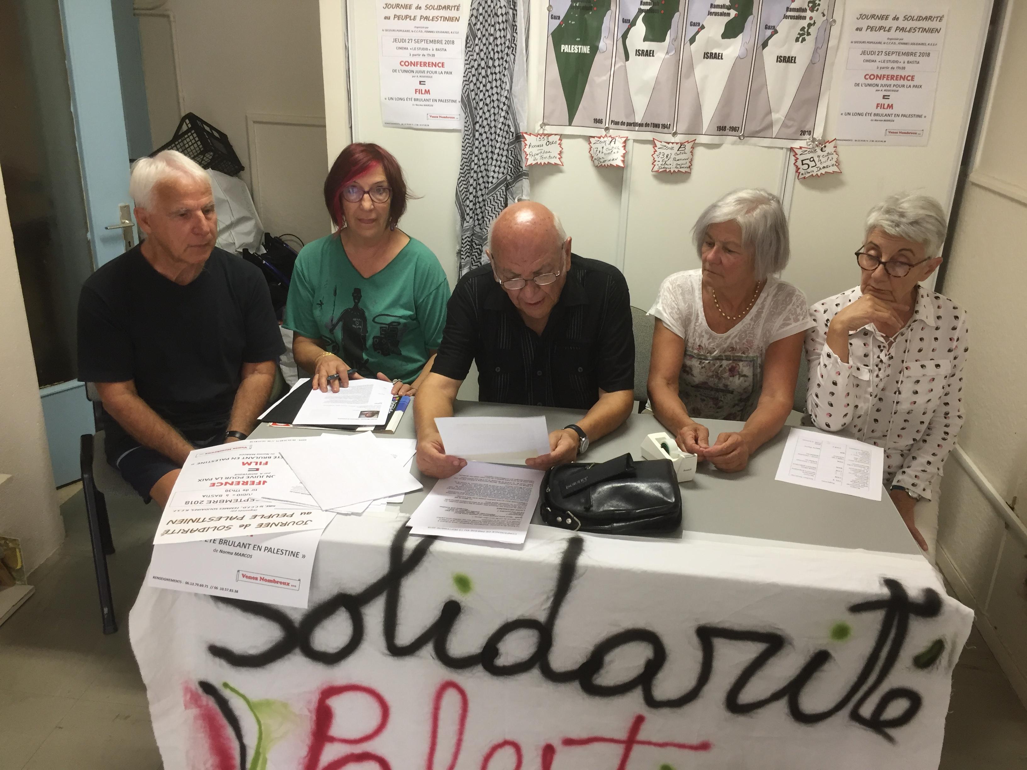 Les responsables des associations Secours Populaire,  Femmes Solidaires, CCFD et RESF ont présenté la Journée de solidarité au peuple Palestinien