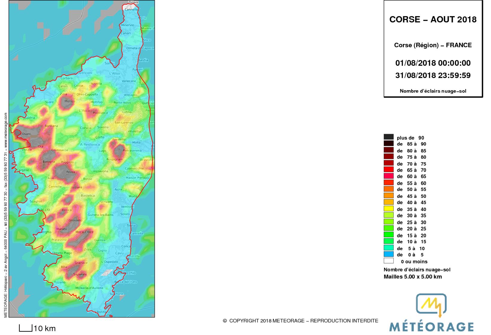 15 530 impacts de foudre ont été relevés durant cet été.