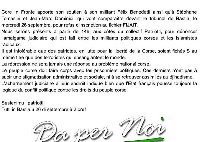 Bastia : Rassemblement du Collectif Patriotti
